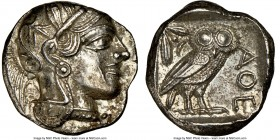ATTICA. Athens. Ca. 440-404 BC. AR tetradrachm (23mm, 17.02 gm, 8h). NGC MS 4/5 - 2/5. Mid-mass coinage issue. Head of Athena right, wearing crested A...