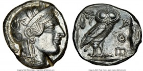 ATTICA. Athens. Ca. 440-404 BC. AR tetradrachm (23mm, 17.21 gm, 4h). NGC Choice AU 5/5 - 2/5. Mid-mass coinage issue. Head of Athena right, wearing cr...