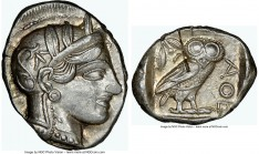ATTICA. Athens. Ca. 440-404 BC. AR tetradrachm (27mm, 17.22 gm, 11h). NGC Choice AU 5/5 - 2/5, test cut. Mid-mass coinage issue. Head of Athena right,...