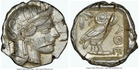 ATTICA. Athens. Ca. 440-404 BC. AR tetradrachm (25mm, 17.20 gm, 12h). NGC Choice AU 5/5 - 2/5, test cuts. Mid-mass coinage issue. Head of Athena right...