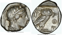 ATTICA. Athens. Ca. 440-404 BC. AR tetradrachm (25mm, 17.17 gm, 4h). NGC AU 4/5 - 5/5. Mid-mass coinage issue. Head of Athena right, wearing crested A...