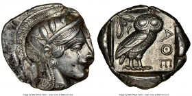 ATTICA. Athens. Ca. 440-404 BC. AR tetradrachm (26mm, 17.16 gm, 5h). NGC AU 4/5 - 4/5. Mid-mass coinage issue. Head of Athena right, wearing crested A...