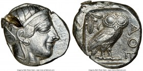 ATTICA. Athens. Ca. 440-404 BC. AR tetradrachm (24mm, 17.18 gm, 4h). NGC AU 5/5 - 2/5, test cut. Mid-mass coinage issue. Head of Athena right, wearing...