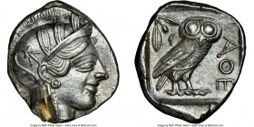ATTICA. Athens. Ca. 440-404 BC. AR tetradrachm (26mm, 16.99 gm, 6h). NGC AU 5/5 - 2/5, test cut. Mid-mass coinage issue. Head of Athena right, wearing...