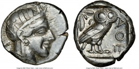 ATTICA. Athens. Ca. 440-404 BC. AR tetradrachm (25mm, 17.18 gm, 4h). NGC Choice XF 4/5 - 3/5, edge cut. Mid-mass coinage issue. Head of Athena right, ...
