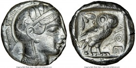 ATTICA. Athens. Ca. 440-404 BC. AR tetradrachm (24mm, 16.74 gm, 9h). NGC Choice XF 5/5 - 3/5, edge cut, light-weight specimen. Mid-mass coinage issue....