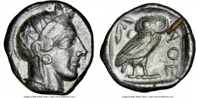 ATTICA. Athens. Ca. 440-404 BC. AR tetradrachm (24mm, 17.19 gm, 10h). NGC Choice VF 5/5 - 2/5, test cut. Mid-mass coinage issue. Head of Athena right,...