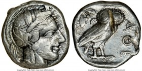 ATTICA. Athens. Ca. 440-404 BC. AR tetradrachm (22mm, 17.11 gm, 9h). NGC Choice VF 5/5 - 2/5, test cut. Mid-mass coinage issue. Head of Athena right, ...