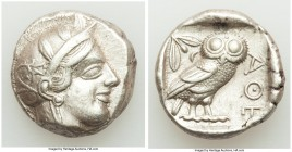 ATTICA. Athens. Ca. 440-404 BC. AR tetradrachm (24mm, 17.16 gm, 6h). Choice XF. Mid-mass coinage issue. Head of Athena right, wearing crested Attic he...