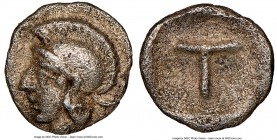 ARCADIA. Tegea. Ca. late 5th century BC. AR tetartemorion (5mm, 8h). NGC XF. Helmeted head of Athena left / Large T within shallow incuse square. BCD ...