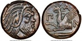 CIMMERIAN BOSPORUS. Panticapaeum. 4th century BC. AE (21mm, 11h). NGC Choice XF. Head of bearded Pan right / Π-A-N, forepart of griffin left, sturgeon...