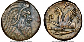 CIMMERIAN BOSPORUS. Panticapaeum. 4th century BC. AE (20mm, 11h). NGC Choice VF. Head of bearded Pan right / Π-A-N, forepart of griffin left, sturgeon...