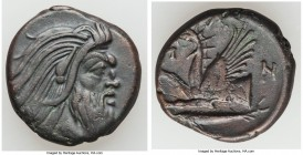CIMMERIAN BOSPORUS. Panticapaeum. 4th century BC. AE (21mm, 6.51 gm, 5h). Choice XF. Head of bearded Pan right / Π-A-N, forepart of griffin left, stur...