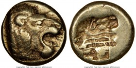 LESBOS. Mytilene. Ca. 521-478 BC. EL sixth-stater or hecte (10mm, 2.55 gm, 5h). NGC Choice VF 5/5 - 4/5. Head of roaring lion right; pelleted truncati...