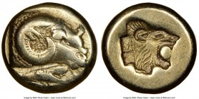 LESBOS. Mytilene. Ca. 521-478 BC. EL sixth stater or hecte (10mm, 2.50 gm, 11h). NGC Choice VF 5/5 - 4/5. Head of ram right; rooster feeding left belo...
