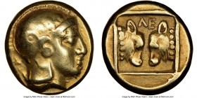 LESBOS. Mytilene. Ca. 454-427 BC. EL sixth-stater or hecte (11mm, 2.53 gm, 7h). NGC Choice VF 5/5 - 4/5. Head of Athena to right, wearing crested Atti...
