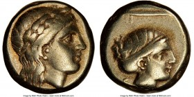 LESBOS. Mytilene. Ca. 377-326 BC. EL sixth-stater or hecte (10mm, 2.53 gm, 10h). NGC VF 5/5 - 4/5. Laureate head of Apollo (Dionysus?) right / Head of...