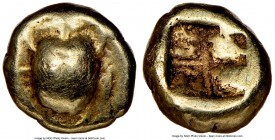 IONIA. Uncertain mint. Ca. 600-550 BC. EL 1/24 stater or myshemihecte (6mm, 0.58 gm). NGC Choice VF 4/5 - 4/5. Scarab beetle, seen from above (?) / Qu...