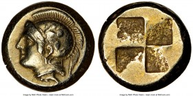 IONIA. Phocaea. Ca. 477-388 BC. EL sixth-stater or hecte (10mm, 2.54 gm). NGC XF 5/5 - 4/5. Head of Athena left, wearing crested Attic helmet decorate...