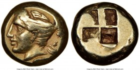 IONIA. Phocaea. Ca. 387-326 BC. EL sixth-stater or hecte (9mm, 2.55 gm). NGC Choice VF 5/5 - 4/5. Head of Artemis left, capped quiver over shoulder, s...
