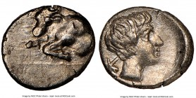 CARIA. Casolaba. Ca. 4th century BC. AR tetartemorion(?) (6mm, 7h). NGC AU. Forepart of bull right / K-A, head of young male right. cf. SNG Kayhan 994...