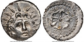 CARIAN ISLANDS. Rhodes. Ca. 84-30 BC. AR drachm (19mm, 4.19 gm, 4h). NGC MS 4/5 - 2/5 brushed. Euphranor, magistrate. Radiate head of Helios facing, t...