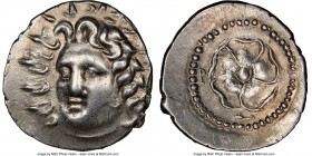 CARIAN ISLANDS. Rhodes. Ca. 84-30 BC. AR drachm (20mm, 4.25 gm, 11h). NGC Choice XF 5/5 - 4/5, brushed. Radiate head of Helios facing, turned slightly...