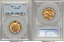"Victoria gold ""St. George"" Sovereign 1871-S AU55 PCGS, Sydney mint, KM7. Very conservatively graded, the highpoint weakness potentially just the mark ..."