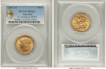 "Victoria gold ""St. George"" Sovereign 1872-S MS62 PCGS, Sydney mint, KM7, S-3858A. A notoriously difficult type to obtain in higher grades; just one si..."
