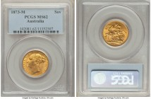"Victoria gold ""St. George"" Sovereign 1873-M MS62 PCGS, Melbourne mint, KM7, S-3857. Richly colored, a vivid apricot tone to the planchet illuminated t..."