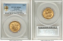 "Victoria gold ""St. George"" Sovereign 1874-S MS61 PCGS, Sydney mint, KM7, S-3858A. A little harshly graded, a strong Mint State offering of this more d..."