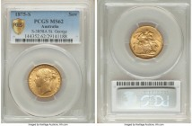 "Victoria gold ""St. George"" Sovereign 1875-S MS62 PCGS, Sydney mint, KM7, S-3858A. A radiant example exhibiting only the most trivial traces of the hig..."