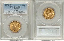 "Victoria gold ""St. George"" Sovereign 1876-M MS62+ PCGS, Melbourne mint, KM7, S-3857. Besides some trivial highpoint abrasions, an engaging specimen wi..."