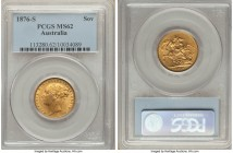 "Victoria gold ""St. George"" Sovereign 1876-S MS62 PCGS, Sydney mint, KM7. A particularly scarce date/mint in higher grades, the present offering repres..."