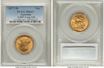 "Victoria gold ""St. George"" Sovereign 1877-M MS62+ PCGS, Melbourne mint KM7, S-3857. Horse with long tail. Boasting strong canary-yellow color illumina..."