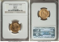 "Victoria gold ""Shield"" Sovereign 1879-S MS61 NGC, Sydney mint, KM6. Pleasing for its grade with reflective luster. From the Caranett Collection of Sov..."