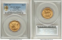 "Victoria gold ""St. George"" Sovereign 1881-M MS62+ PCGS, Melbourne mint, KM7, S-3857A. Surfaces flaring with icy luster, sun-yellow planchet sharply st..."