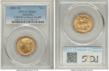 "Victoria gold ""St. George"" Sovereign 1882-M MS62 PCGS, Melbourne mint, KM7, S-3857B. 1st head, small BP variety. Its brightness slightly subdued, yet ..."
