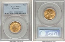 "Victoria gold ""St. George"" Sovereign 1882-S MS62 PCGS, Sydney mint, KM7. Some mild scuffing to Victoria's cheek in line with the certification, yet re..."