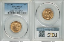 "Victoria gold ""St. George"" Sovereign 1883-M MS63 PCGS, Melbourne mint, KM7, S-3857B. One or two impact marks at the edge and to the devices, but nothi..."