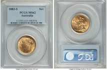 "Victoria gold ""St. George"" Sovereign 1883-S MS62 PCGS, Sydney mint, KM7. Some stacking friction to the highest design points, but otherwise a premium ..."