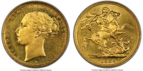 "Victoria gold ""St. George"" Sovereign 1884-M MS64 PCGS, Melbourne mint, KM7, S-3857B. WW buried variety. Tied for finest certified, with an intensely P..."