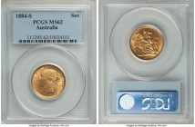 "Victoria gold ""St. George"" Sovereign 1884-S MS62 PCGS, Sydney mint, KM7. Lustrous and with enchanting color. From the Caranett Collection of Sovereign..."