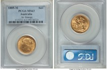 "Victoria gold ""St. George"" Sovereign 1885-M MS63 PCGS, Melbourne mint, KM7, S-3857C. Small BP. Perfect satin surfaces, subdued luster yet still attrac..."