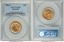 "Victoria gold ""St. George"" Sovereign 1886-S MS62 PCGS, Sydney mint, KM7. Some highpoint friction and minor bagmarks, the luster in the centers somewha..."