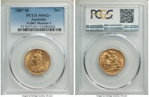 "Victoria gold ""Jubilee Head"" Sovereign 1887-M MS62+ PCGS, Melbourne mint, KM10, S-3867. Hooked J. A scarcer type, some darkening and minor abrasions t..."