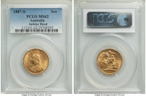 "Victoria gold ""Jubilee Head"" Sovereign 1887-S MS62 PCGS, Sydney mint, KM10, S-3868A. Lustrous with original surfaces, an appealing selection with some..."