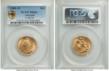 Victoria gold Sovereign 1888-M MS62 PCGS, Melbourne mint, KM10, S-3867B. Sparkling golden luster throughout, some noticeable bagmarks to the obverse b...