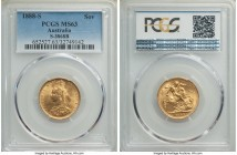 Victoria gold Sovereign 1888-S MS63 PCGS, Sydney mint, KM10, S-3868B. The grade-defining contact marks in the fields are exceptionally light and unobt...