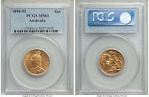 Victoria gold Sovereign 1890-M MS61 PCGS, Melbourne mint, KM10. A rather conservatively graded Sovereign, its fields clear of major marks and sharp de...